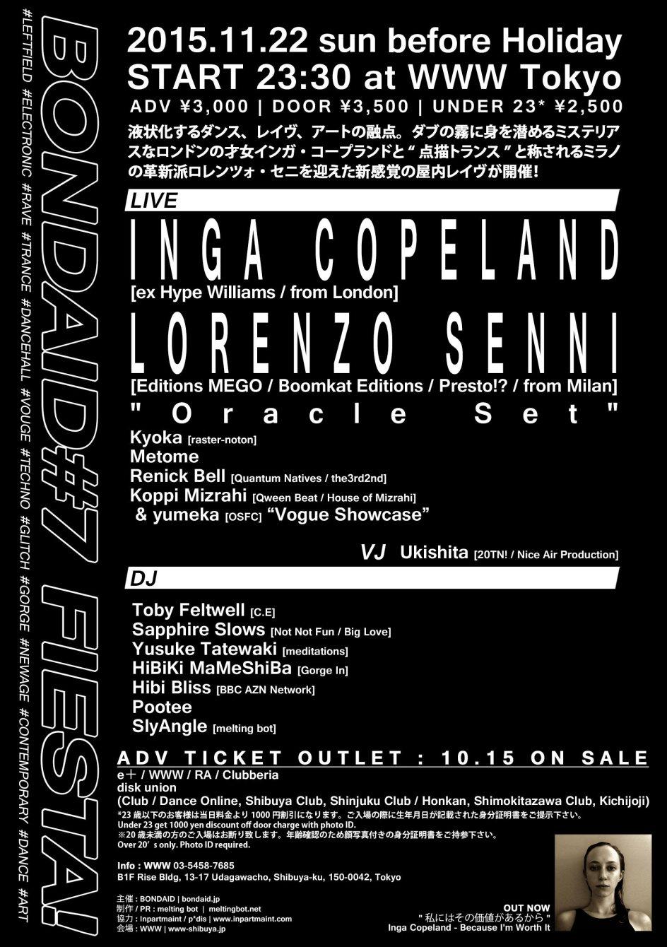 Bondaid#7 FIESTA! Inga Copeland & Lorenzo Senni - Flyer back