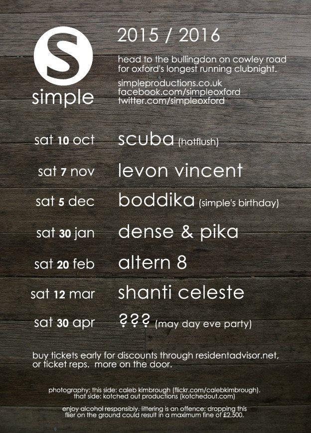Simple presents Levon Vincent - Flyer back