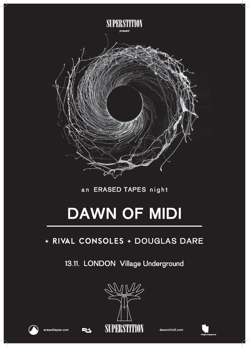 Superstition // Erased Tapes Dawn Of Midi, Rival Consoles & Douglas Dare - Flyer front