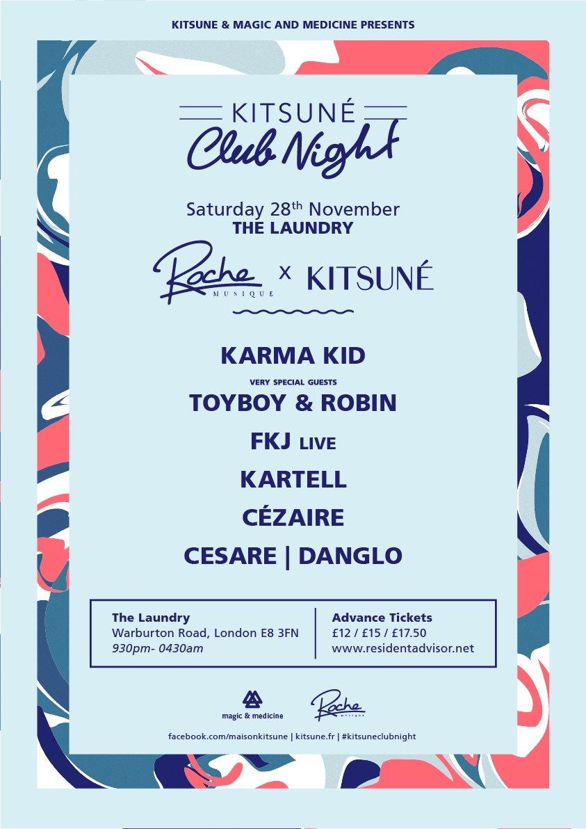 Kitsune X Roche Musique- Karma Kid, FKJ,Toyboy & Robin,Kartell, Cezaire, Danglo - Flyer front