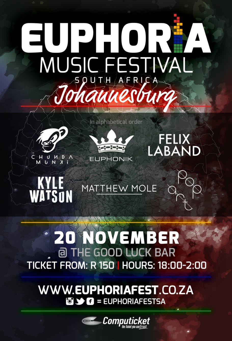 Euphoria Music Festival Johannesburg - Flyer front