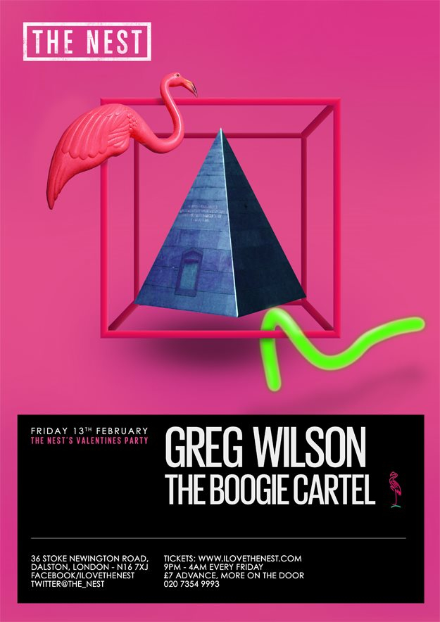 The Nest's Valentine Party with Greg Wilson + The Boogie Cartel - Flyer front