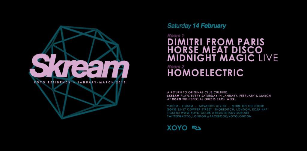Skream + Dimitri From Paris + Horsemeat Disco - Flyer front