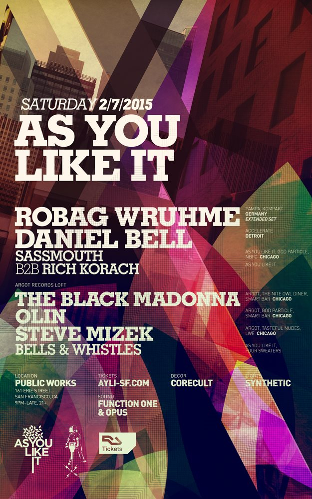 As You Like It with Robag Wruhme, Daniel Bell, and Argot Feat. The Black Madonna and More - Flyer front