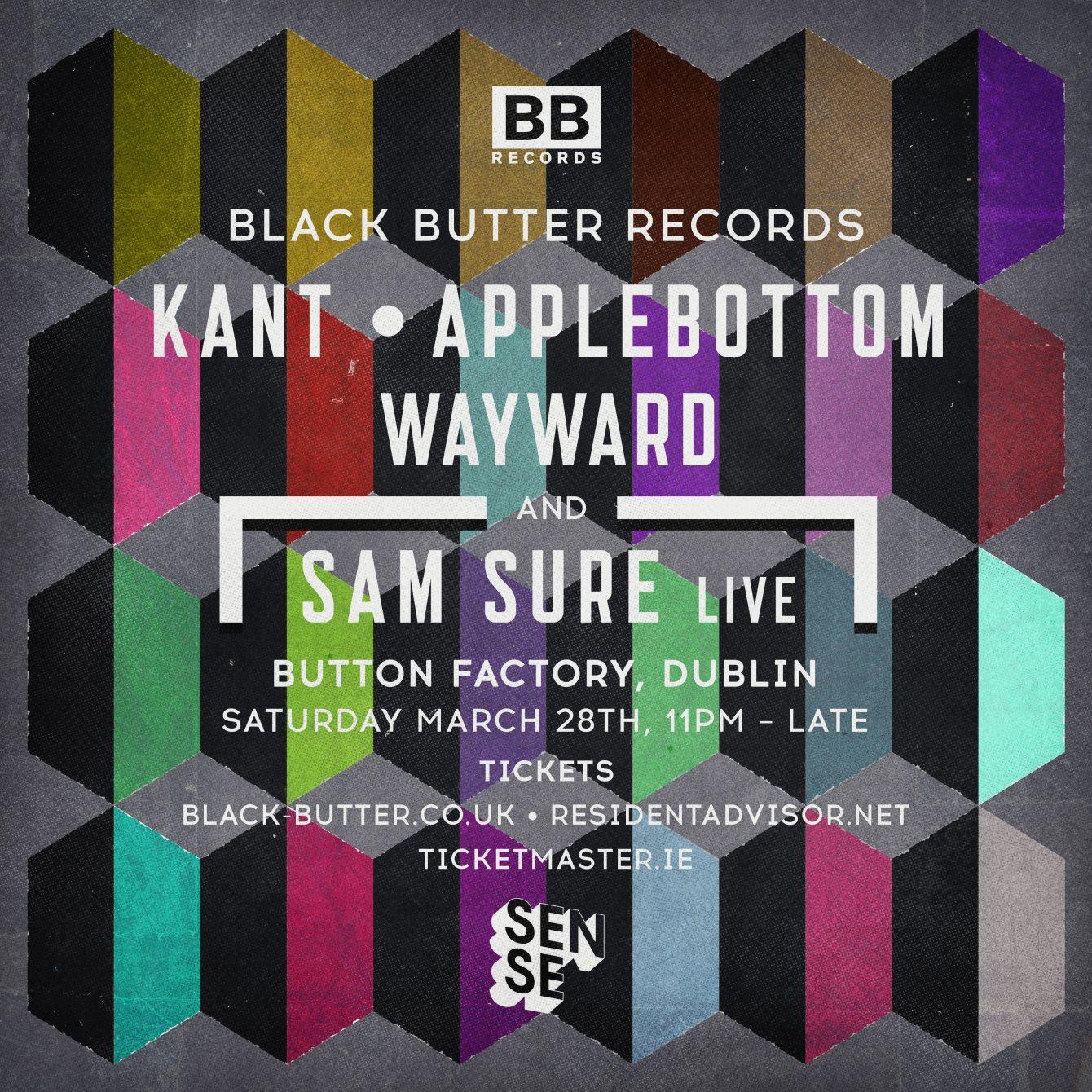 Black Butter Records At Sense - Kant, Applebottom, Wayward, Sam Sure - Flyer front