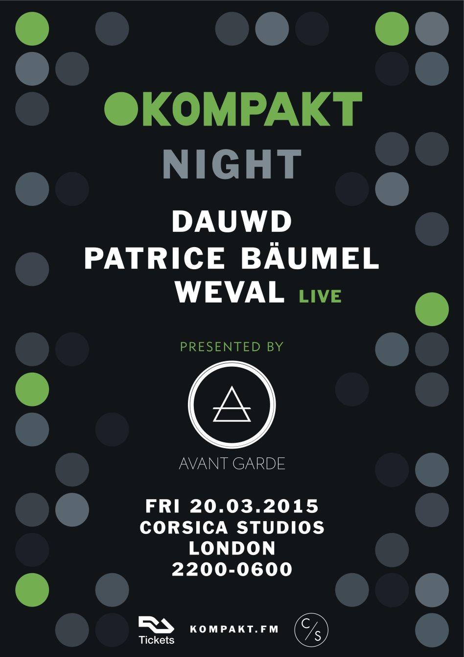 Avant Garde 1st Birthday with Kompakt Records - Flyer front