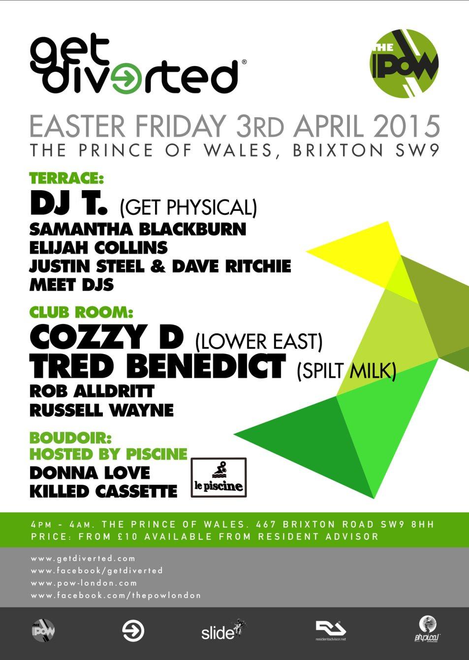 Get Diverted Good Friday with DJ T & Cozzy D - Flyer back