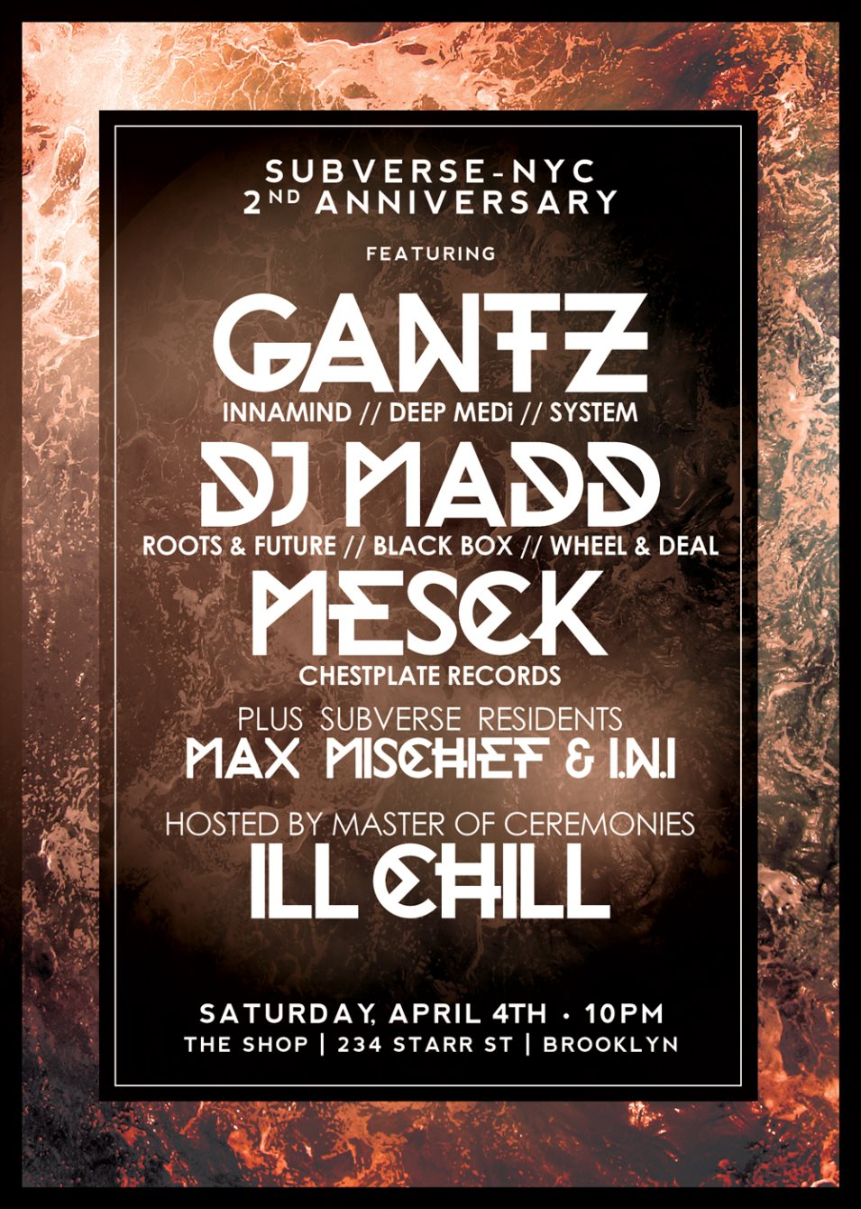 Subverse-NYC 2nd Anniversary Feat. Gantz, DJ Madd, & Mesck, Hosted by Ill Chill - Flyer front