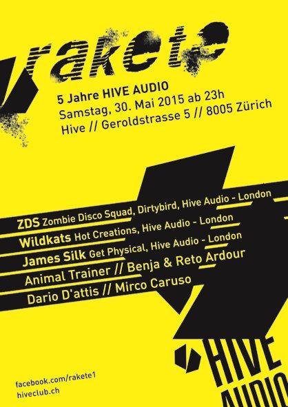 Rakete 5 Jahre Hive Audio - Flyer front