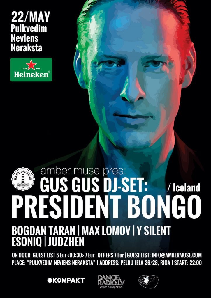 Amber Muse presents Gusgus dj set with President Bongo - Flyer front