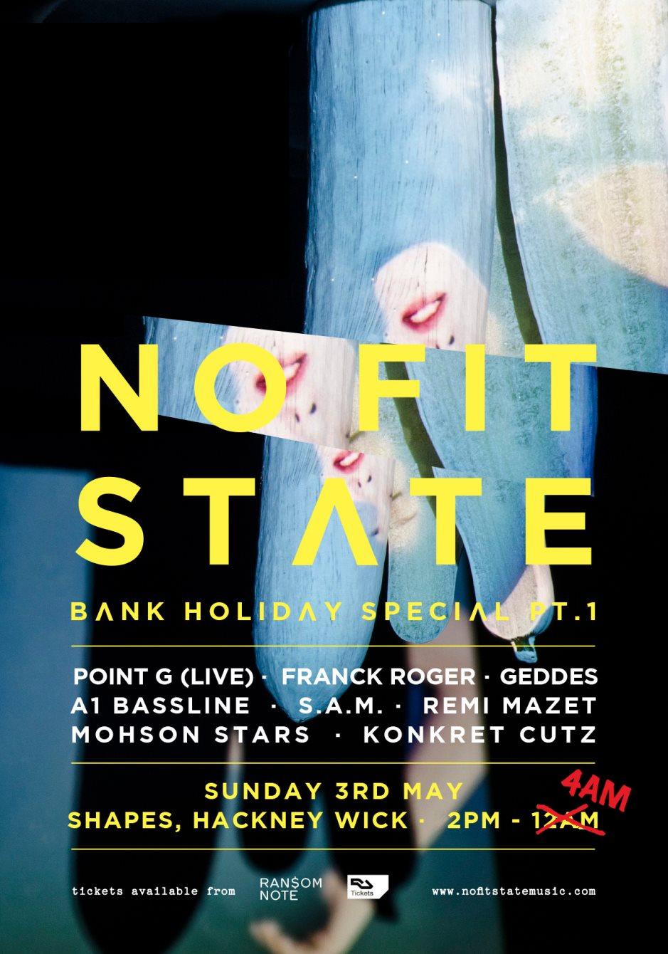 Nofitstate Bank Holiday Special Pt.1 with Point G, Franck Roger, Geddes, A1 Bassline & More - Flyer front