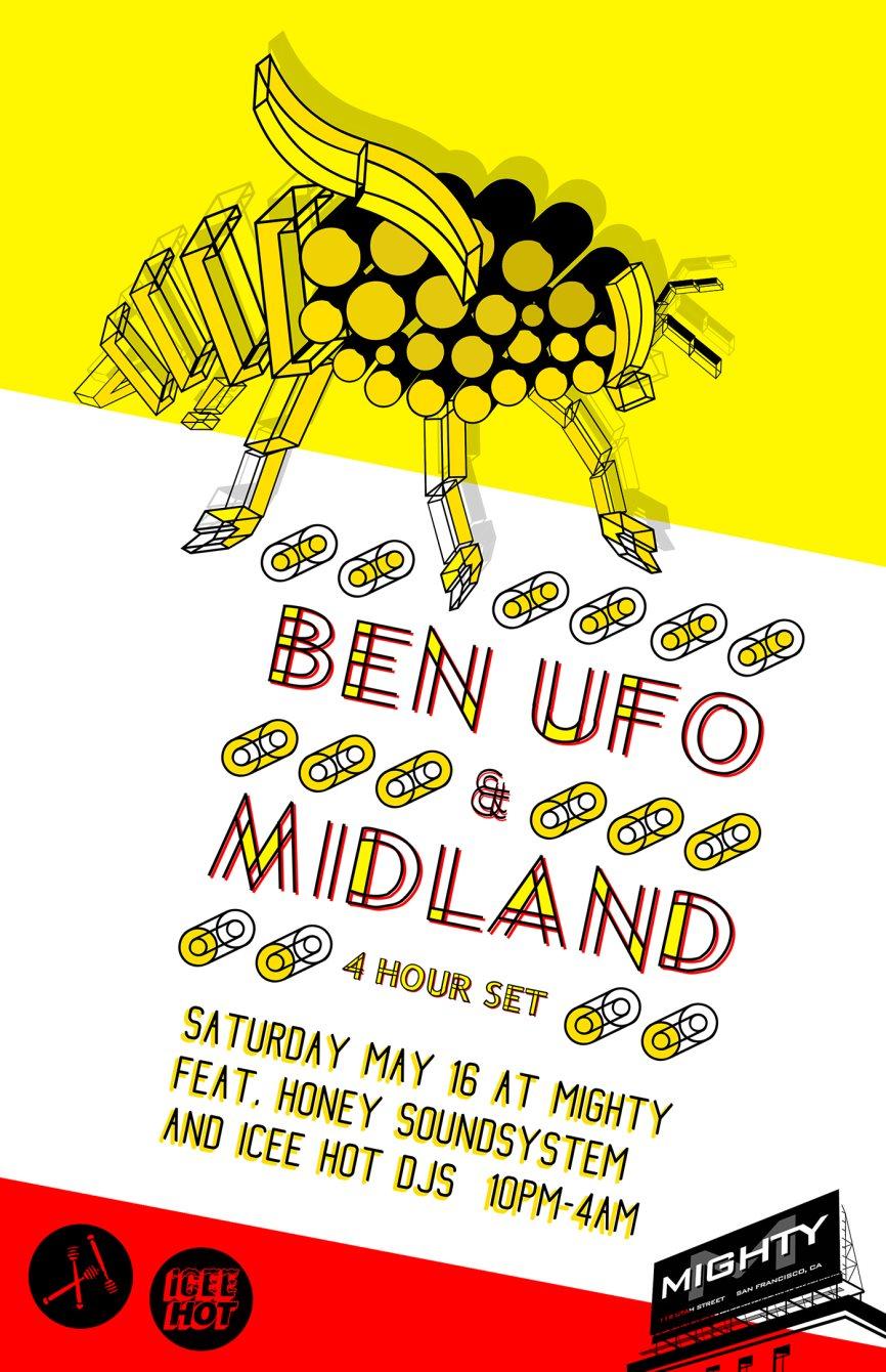 Honey Soundsystem & Mighty present BEN UFO & Midland - Flyer front