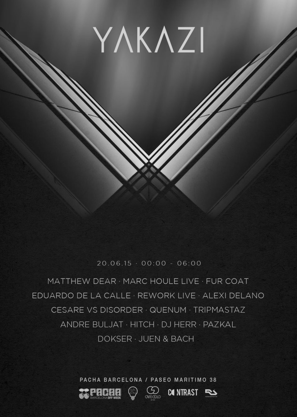 Yakazi Showcase with Matthew Dear, Marc Houle, Fur Coat and More / Night Time - Flyer front
