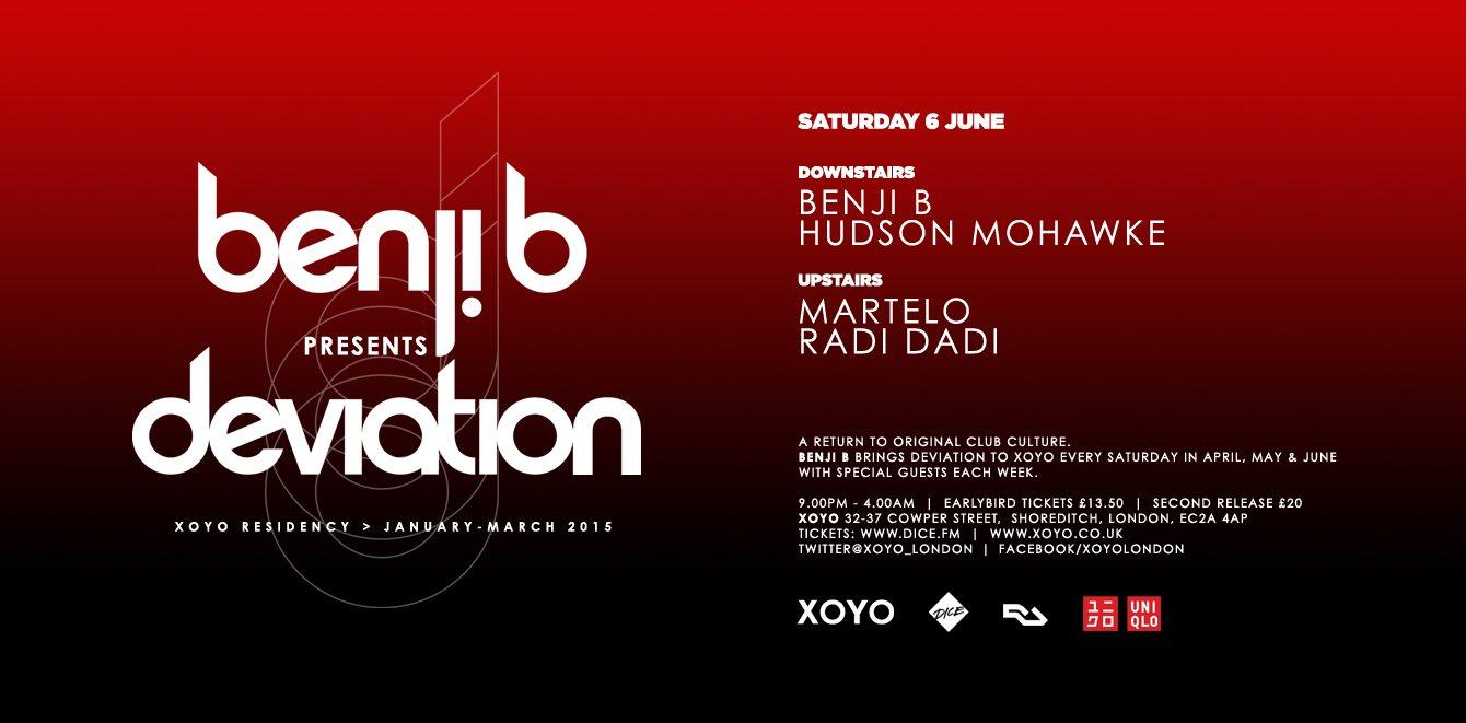 Benji B + Hudson Mohawke + Room 2: Martelo + Radi Dadi + Madam X - Flyer front
