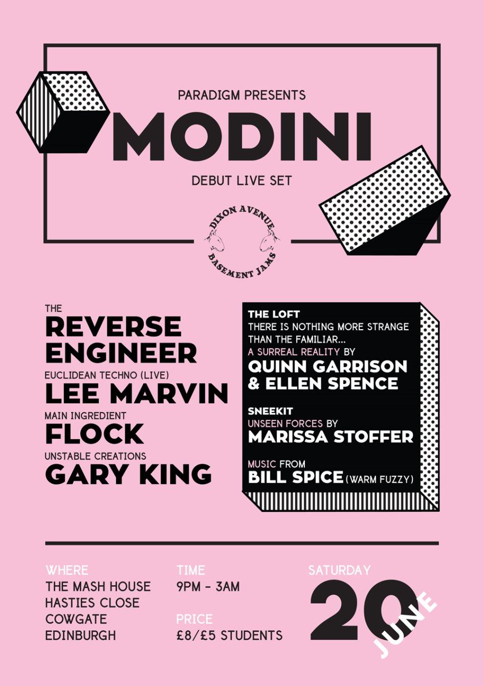Paradigm - Modini Debut Live Set - Flyer front