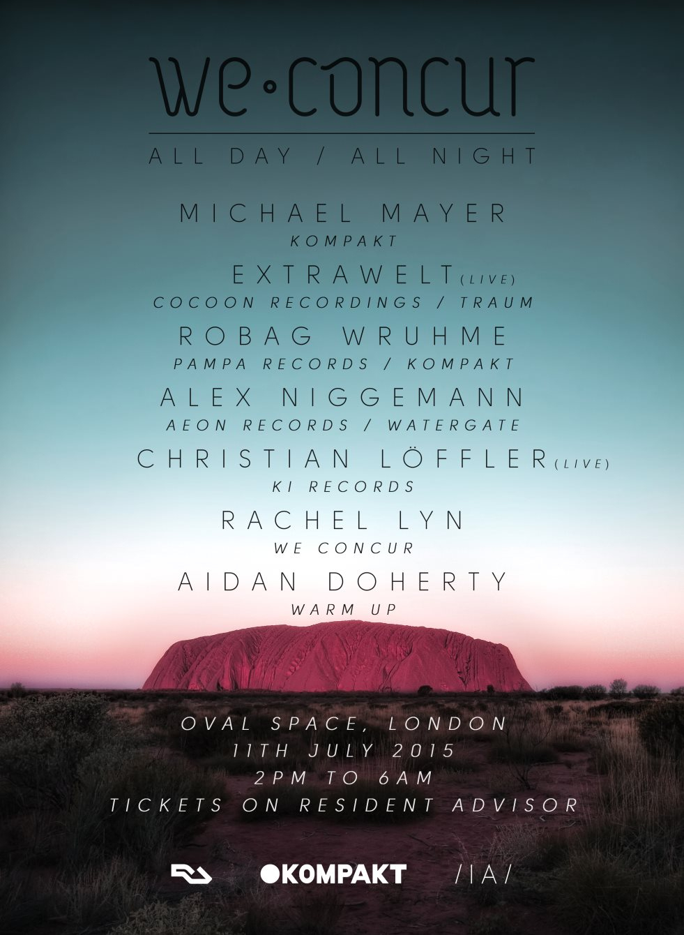 We Concur All Day / All Night with Michael Mayer, Extrawelt, Robag Wruhme - Flyer back
