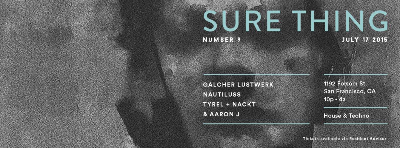Sure Thing: Galcher Lustwerk, Nautiluss, Tyrel+Nackt - Flyer front