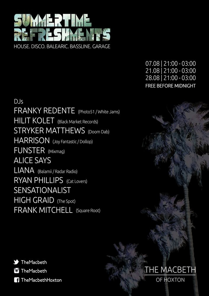 Summertime Refreshments with Franky Redente, Hilit Kolet & Frank Mitchell - Flyer back