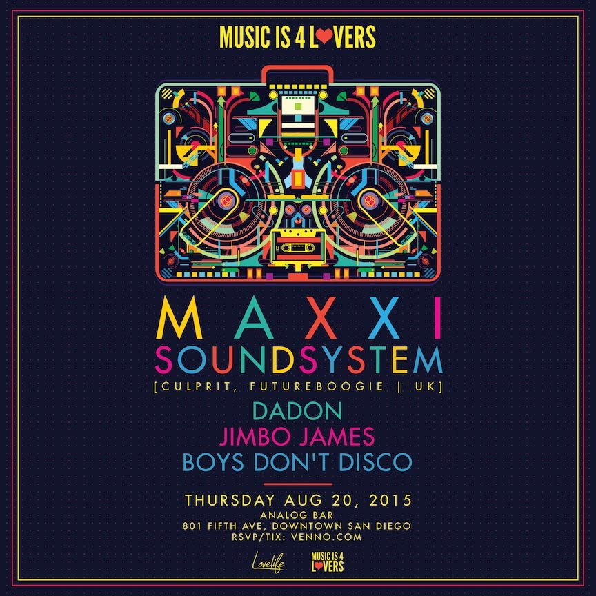 Music is 4 Lovers presents... Maxxi Soundsystem - Flyer front