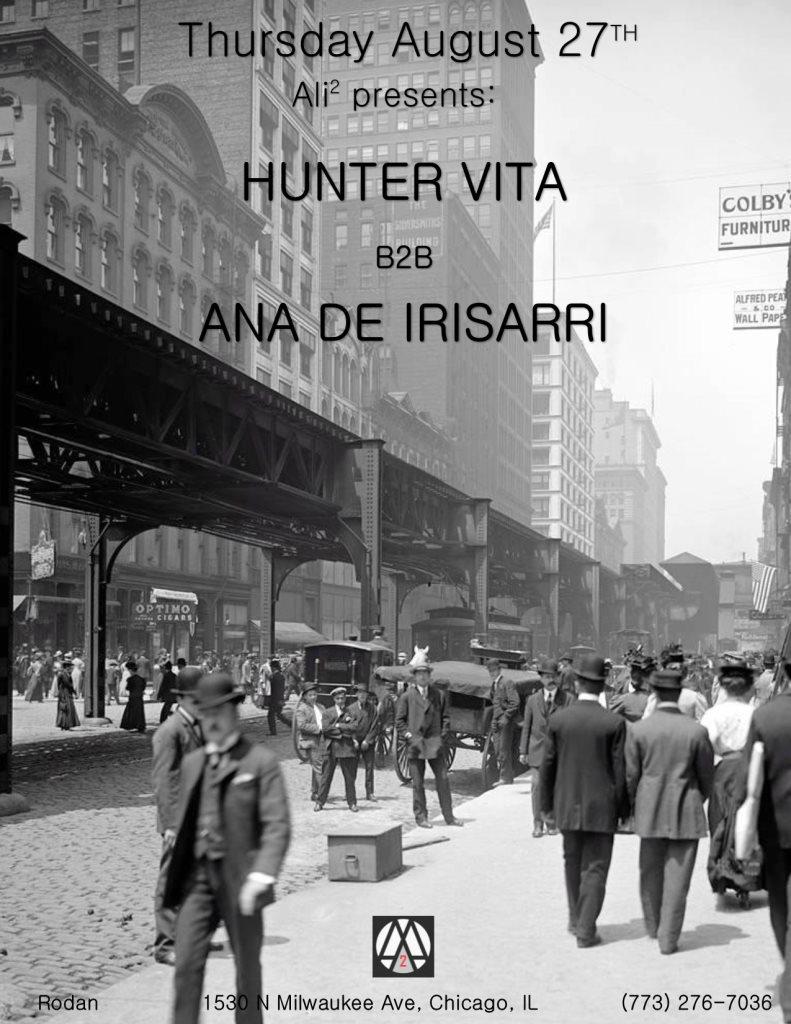 Thursday 8.27 Ali² presents Hunter Vita & Ana De Irisarri - Flyer front