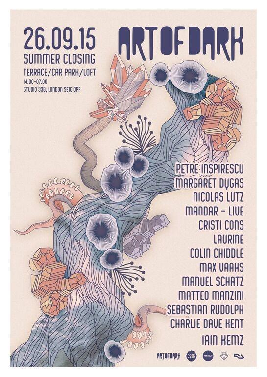 Art Of Dark - Summer Closing. Petre Inspirescu, Margaret Dygas, Nicolas Lutz, Mandar - Flyer back