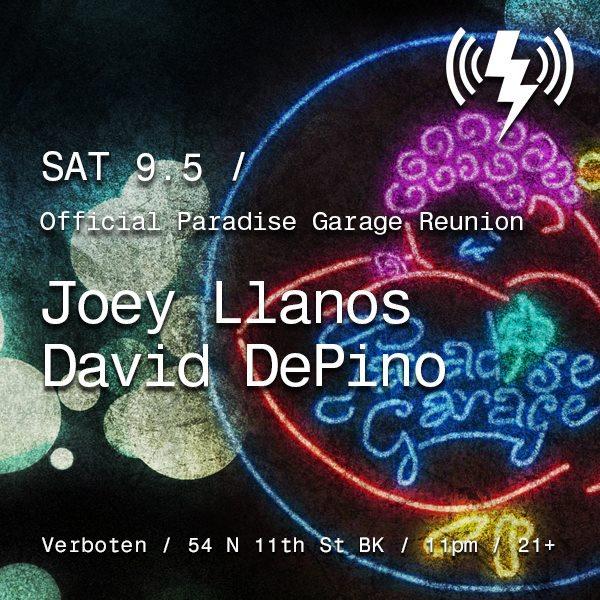 Official Paradise Garage Reunion: Joey Llanos & David Depino - Flyer front