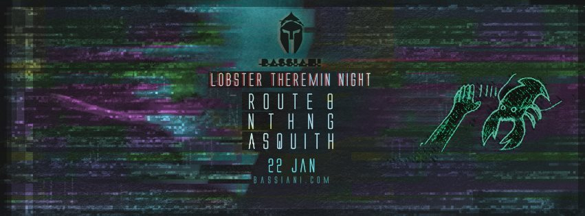 Lobster Theremin Night with Route 8, Asquith & Nthng - Flyer front