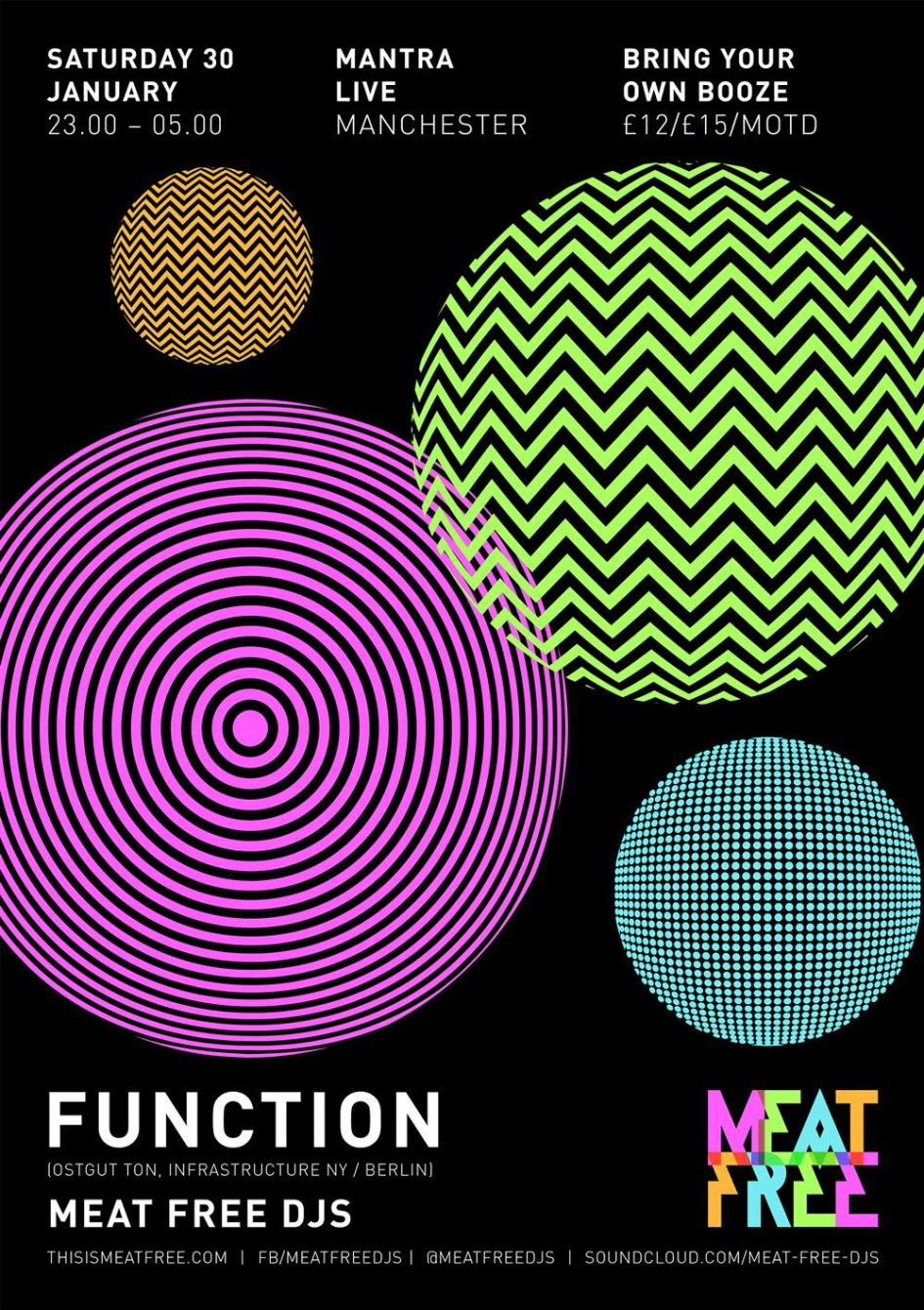 Meat Free presents Function (Byob) - Flyer front