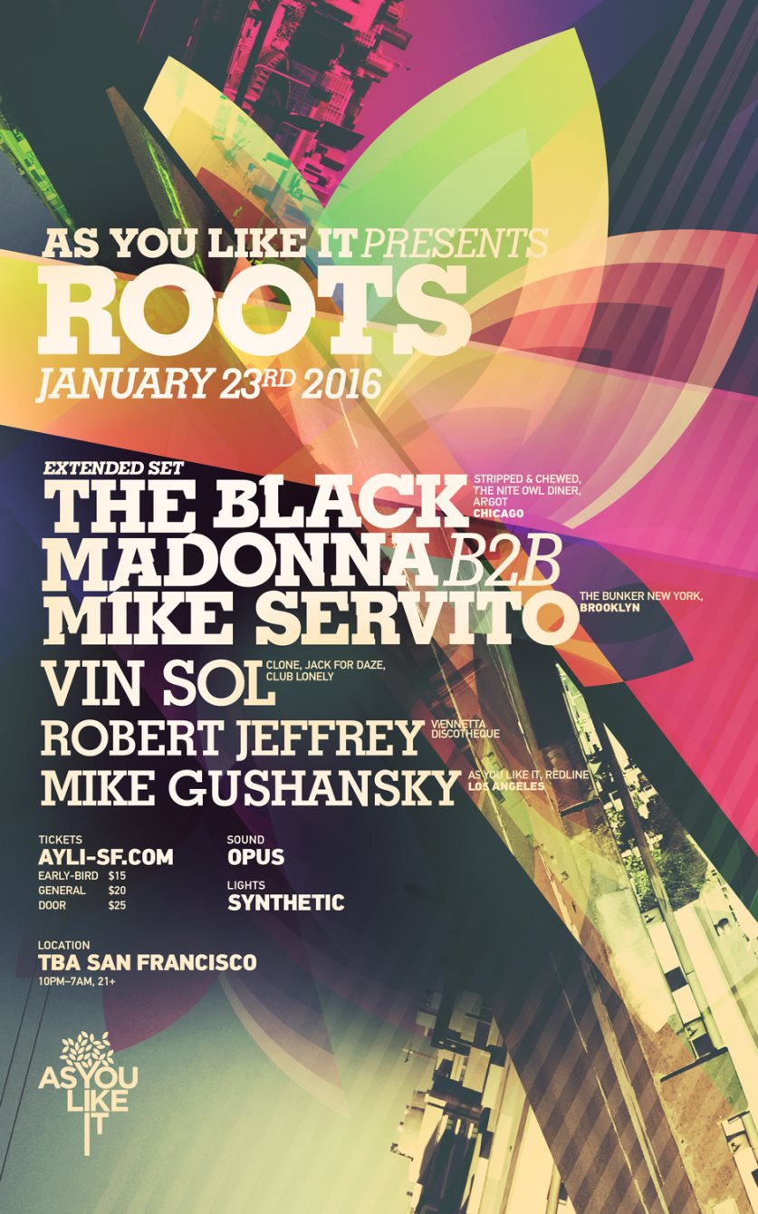 Ayli presents Roots with The Black Madonna B2B Mike Servito (Extended Set) - Flyer front