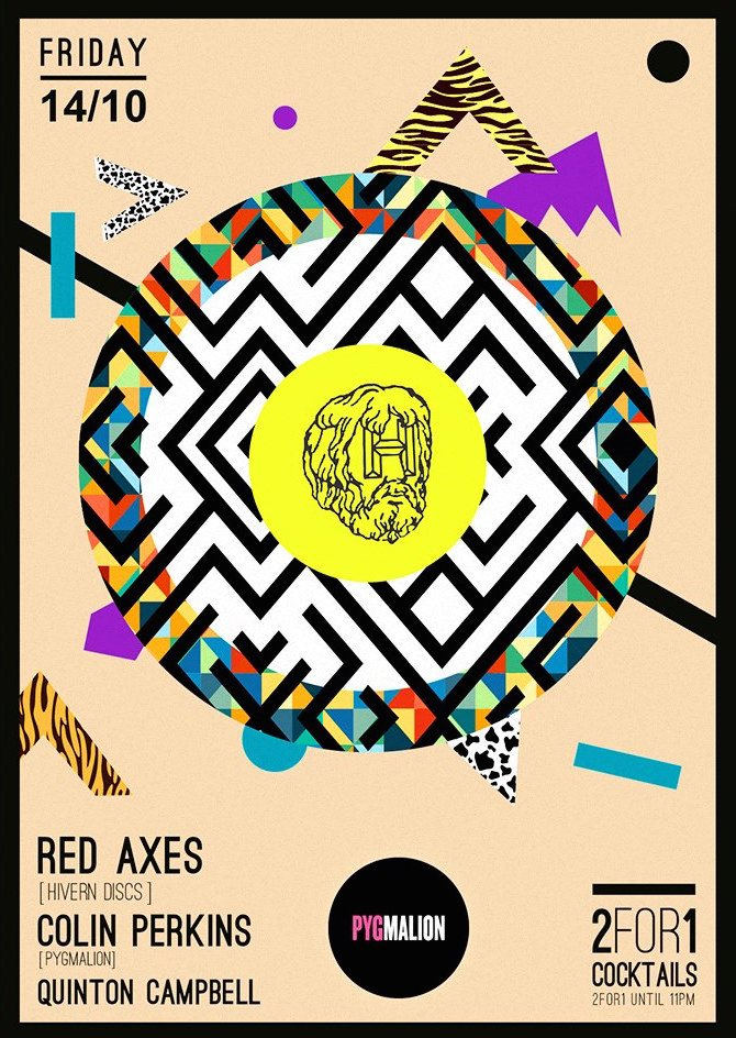 Pyg presents Red Axes - Flyer front