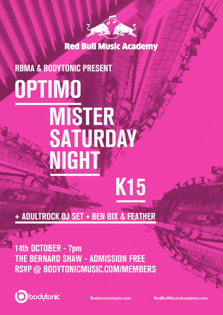 Red Bull Music Academy & Bodytonic present Mister Saturday Night & Optimo - Flyer front