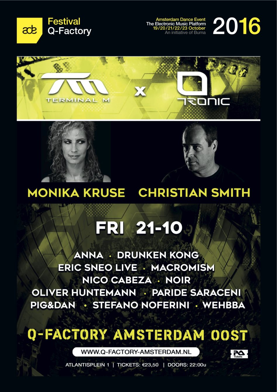 ADE: Terminal M x Tronic with Monika Kruse, Christian Smith, Oliver Huntemann, Wehbba and More - Flyer front