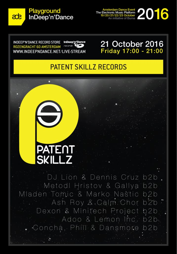 ADE 2016 Indeep'n'dance: Patent Skillz Records - Flyer front