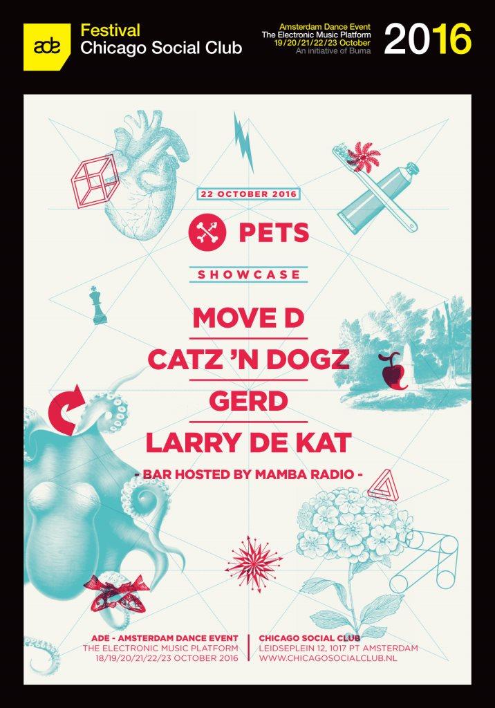 Pets Recordings ADE with Move D, Catz 'n Dogz, Gerd & Larry de Kat - Flyer front