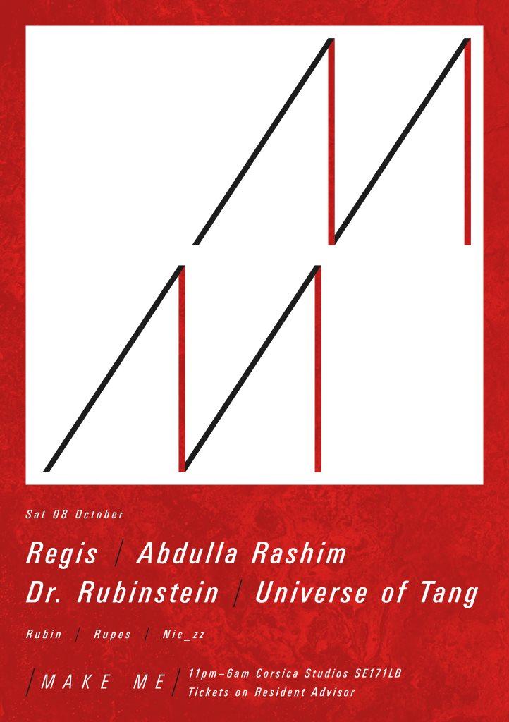 Make Me with Regis, Abdulla Rashim, Dr. Rubinstein & Universe of Tang - Flyer front
