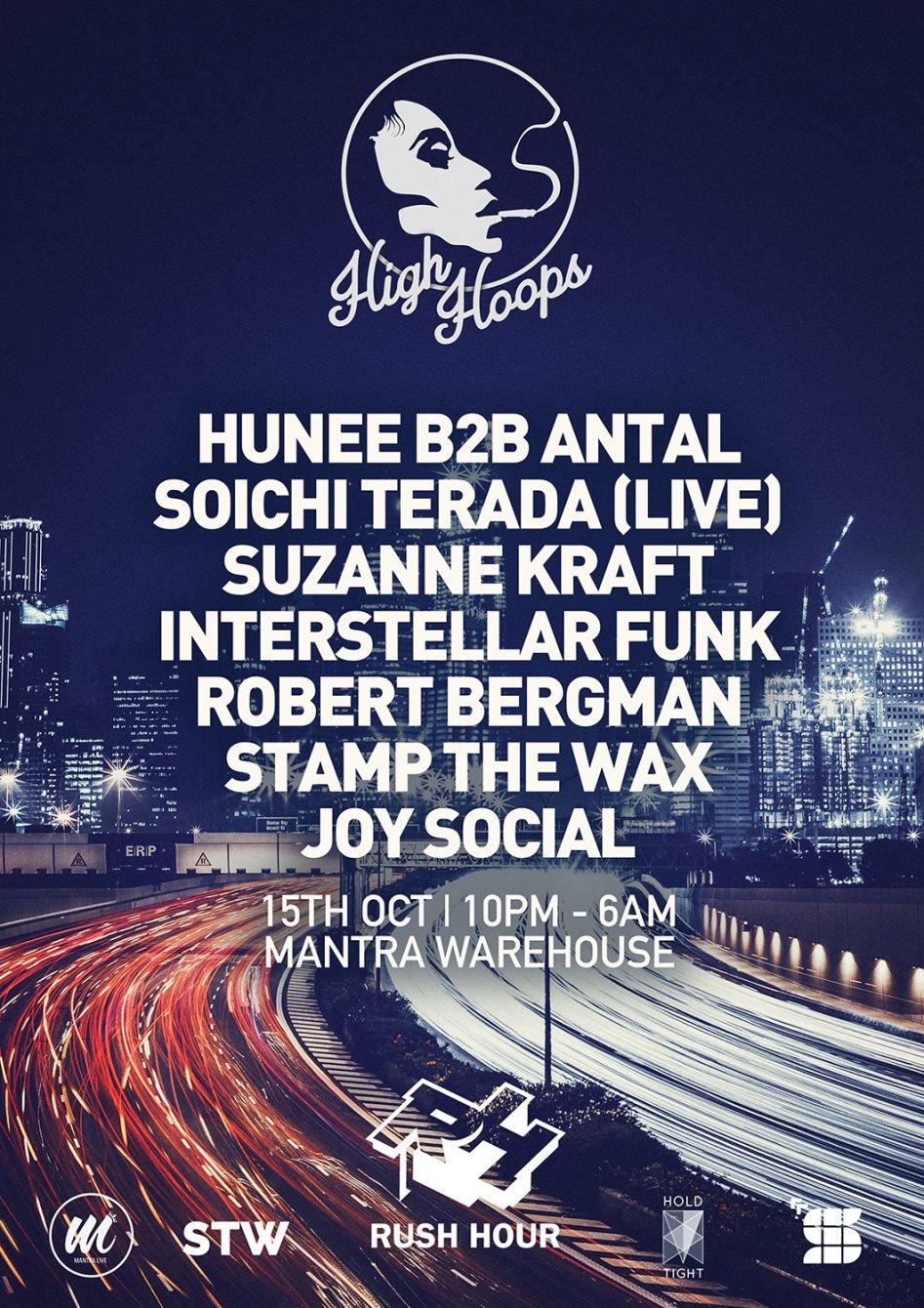 High Hoops x Rush Hour - Hunee, Antal, Soichi Terada, Suzanne Kraft, Interstellar Funk - Flyer front