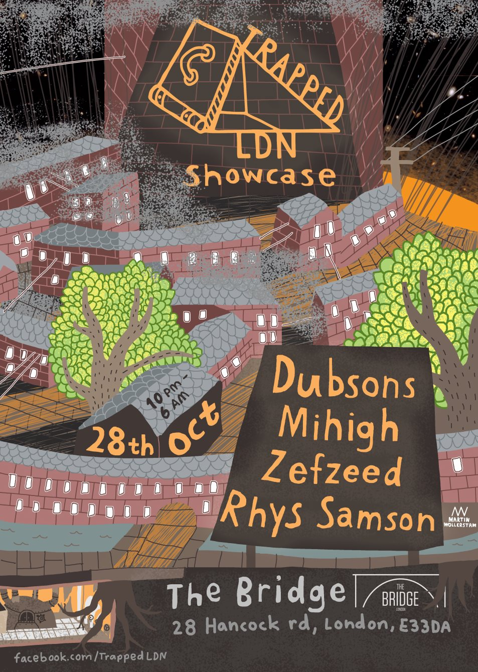 Trapped Ldn Showcase W/ Dubsons, Mihigh, Zefzeed, Rhys Samson - Flyer front