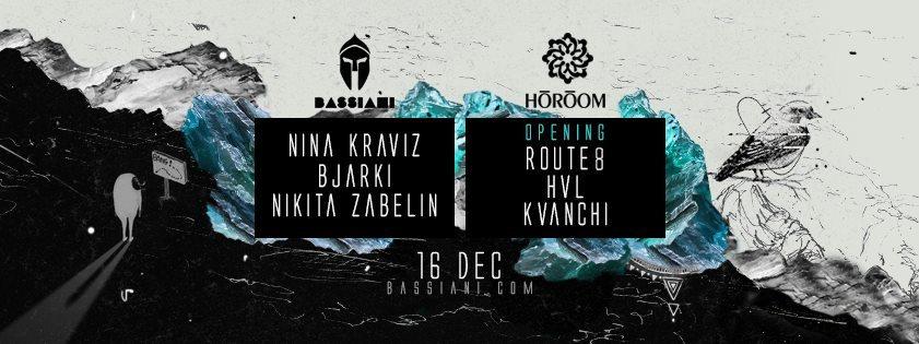 Nina Kraviz, Bjarki, Nikita Zabelin, Route8 - Flyer front