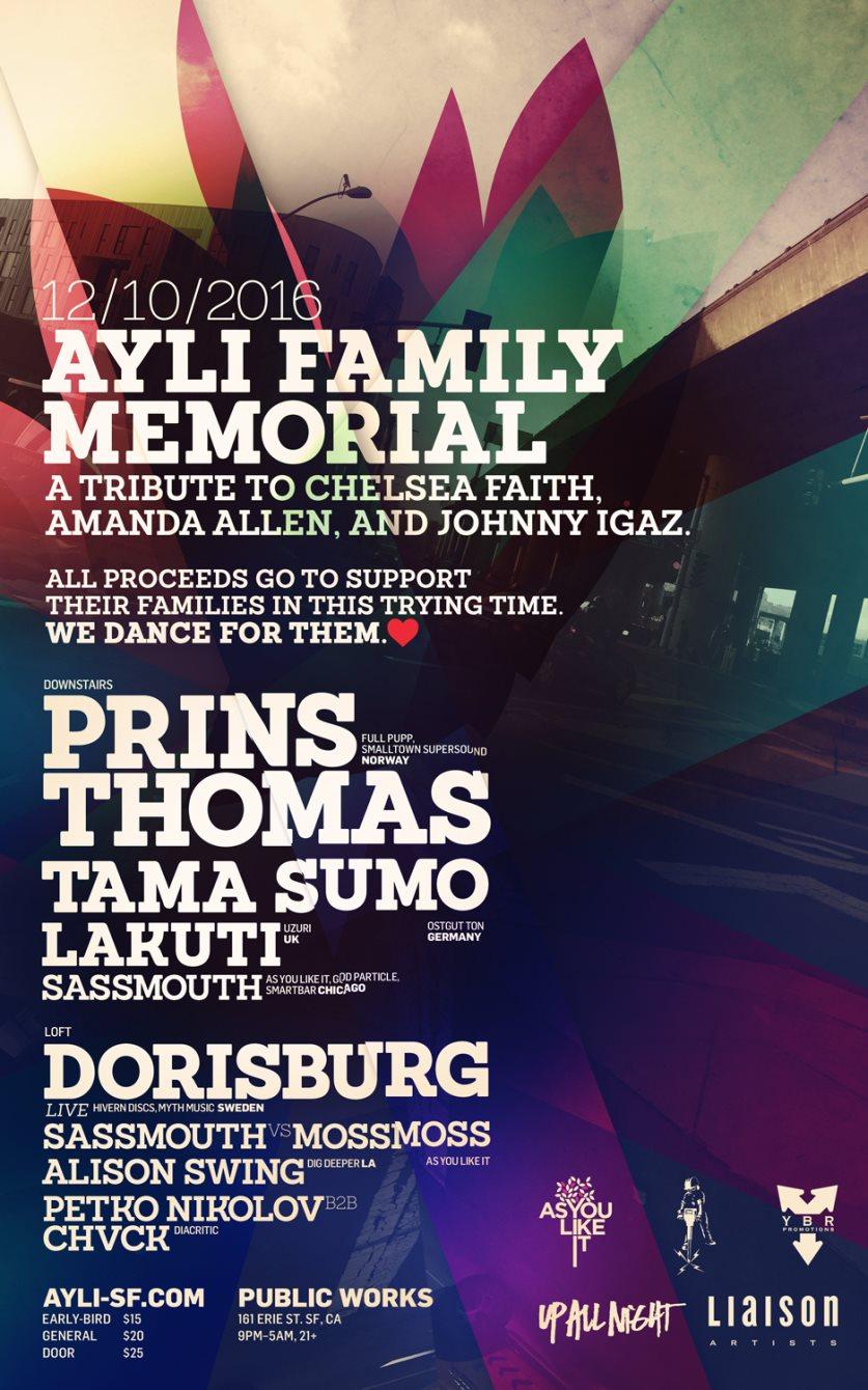 Ayli Family Memorial for Cherushii, Amanda Allen, and Nackt - Flyer front