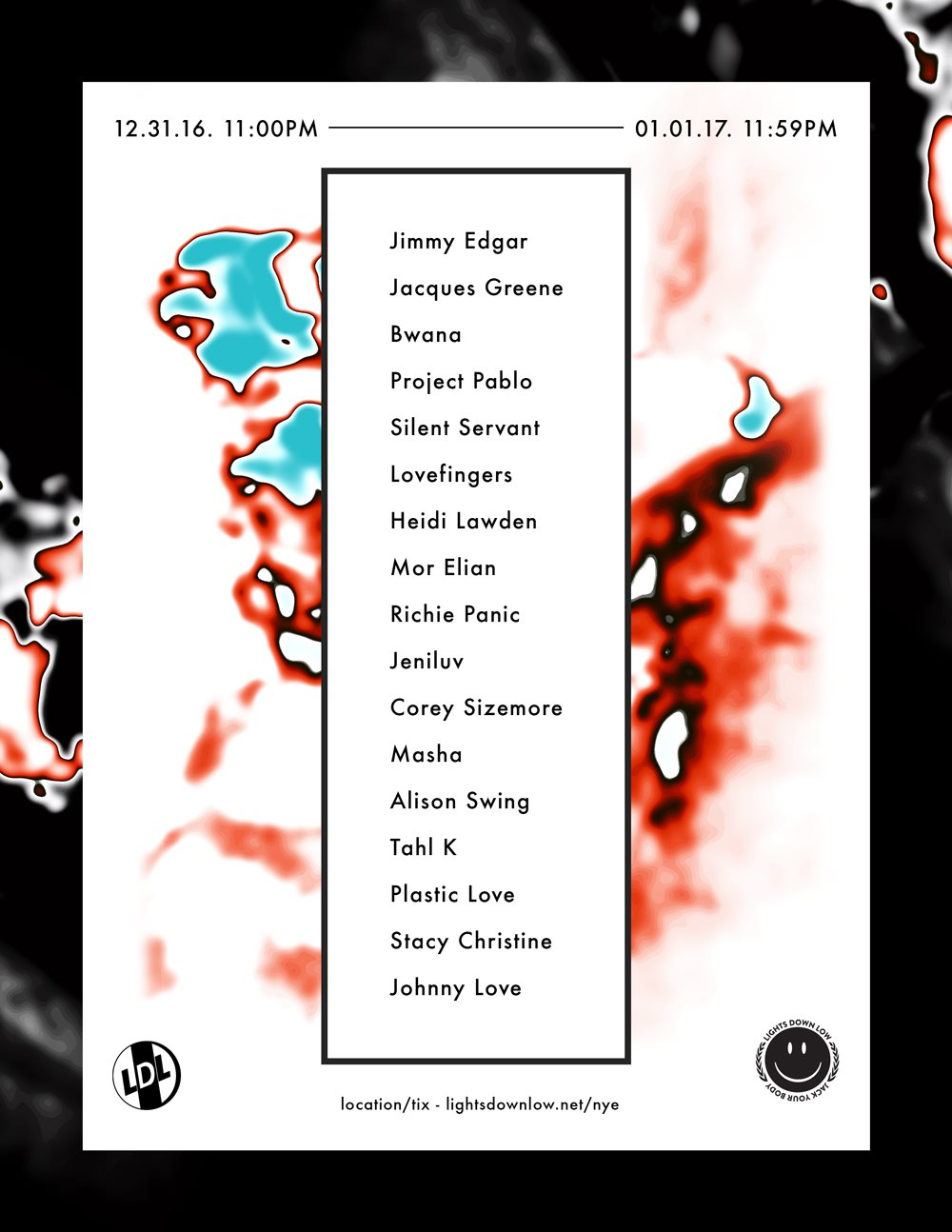 Lights Down Low LA NYE 24 Hour Party People - Flyer front