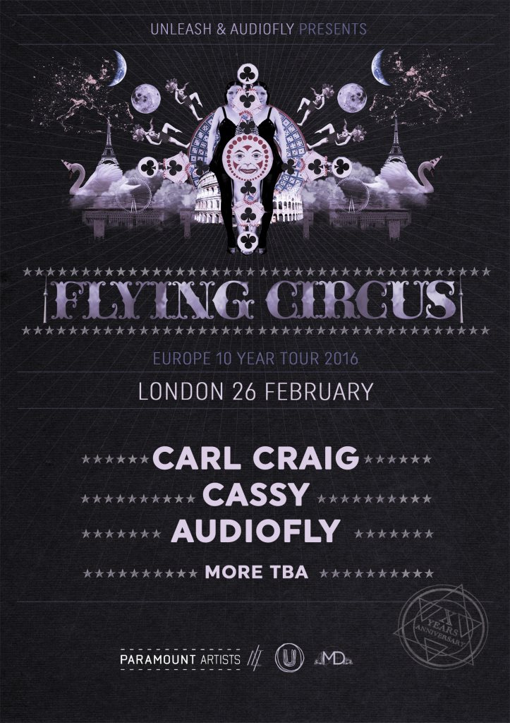 Unleash x Flying Circus: Carl Craig, Cassy, Audiofly - Flyer front