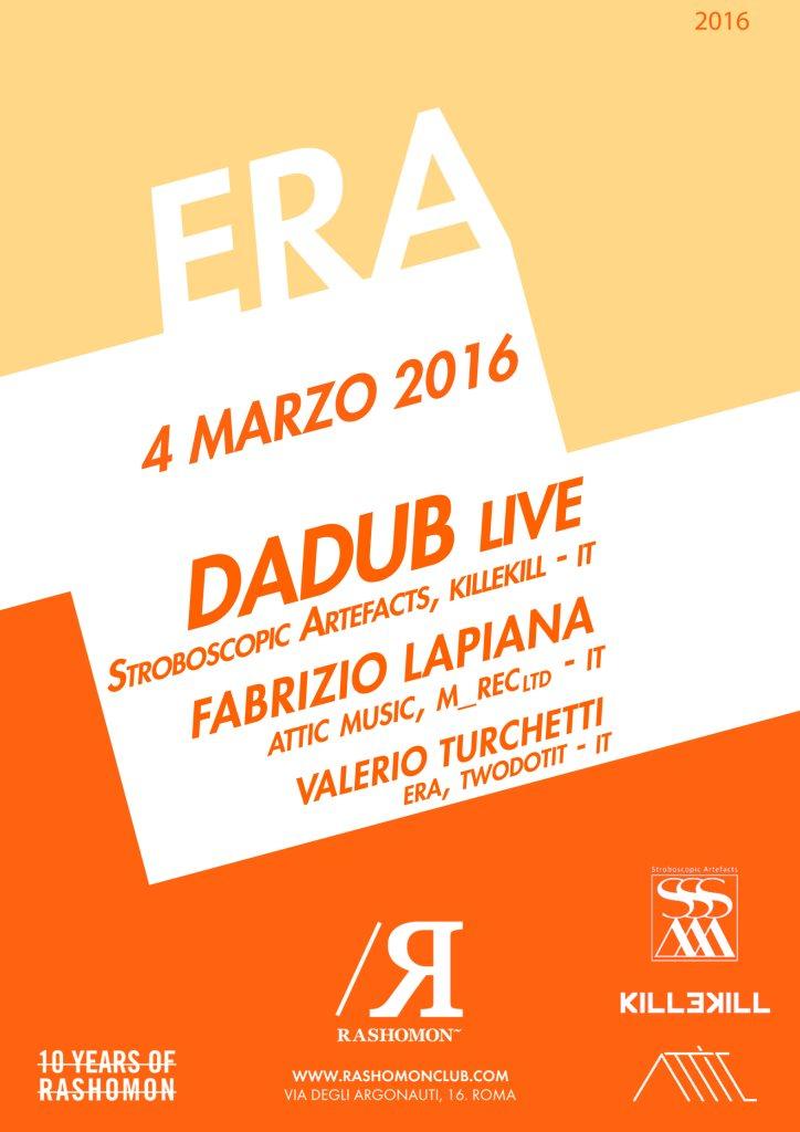 ERA with Dadub Live Fabrizio Lapiana - Flyer front