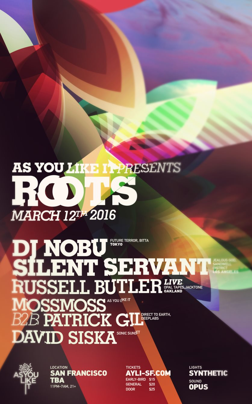 As You Like It presents *Roots* with DJ Nobu & Silent Servant - Flyer front