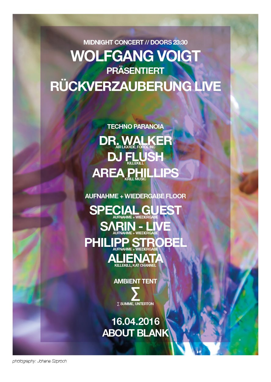 Paranoia with Wolfgang Voigt, Dr Walker & Many More - Flyer back
