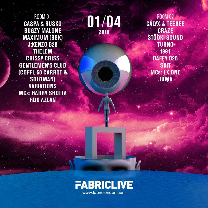 Fabriclive: Caspa & Rusko, Bugzy Malone Malone, Calyx & Teebee & More - Flyer back