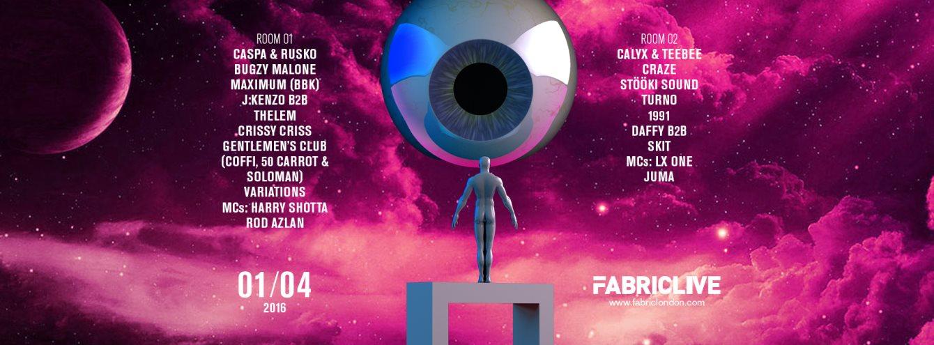 Fabriclive: Caspa & Rusko, Bugzy Malone Malone, Calyx & Teebee & More - Flyer front
