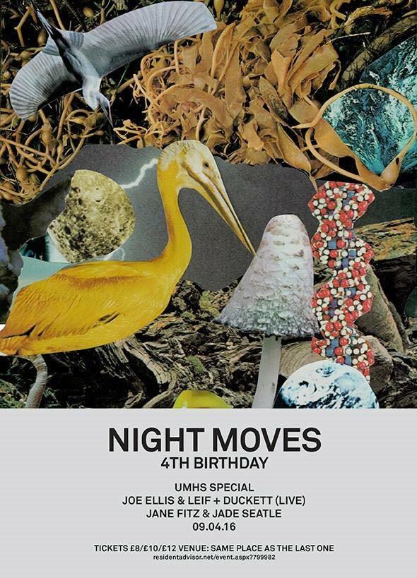 Night Moves is 4: Duckett, Leif & Joe Ellis, Jane Fitz & Jade Seatle - Flyer front