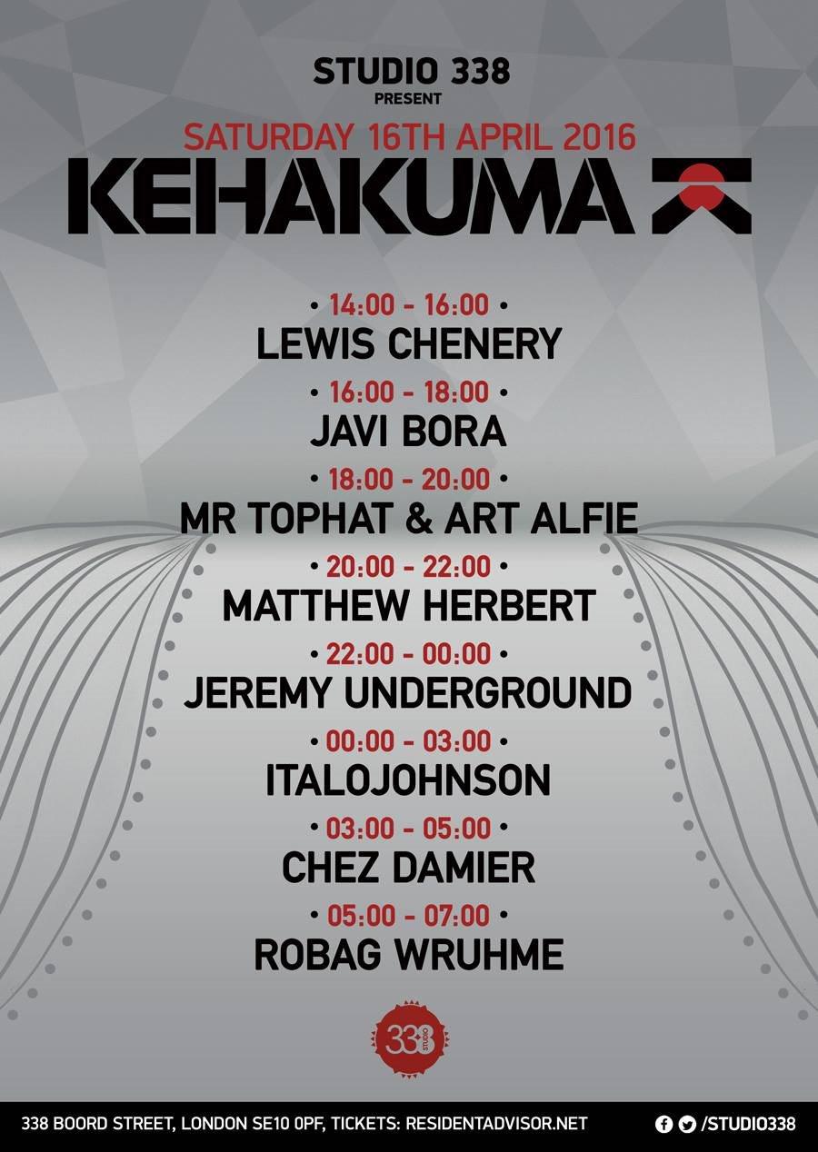 Kehakuma with Chez Damier, Jeremy Underground, Herbert, Robag Wruhme, Italojohnson - Flyer back