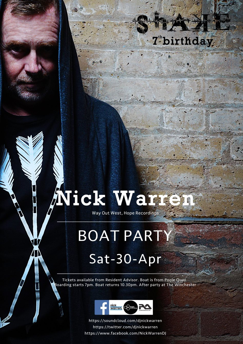 Shake 7th Birthday - Nick Warren Boat Party - Flyer front