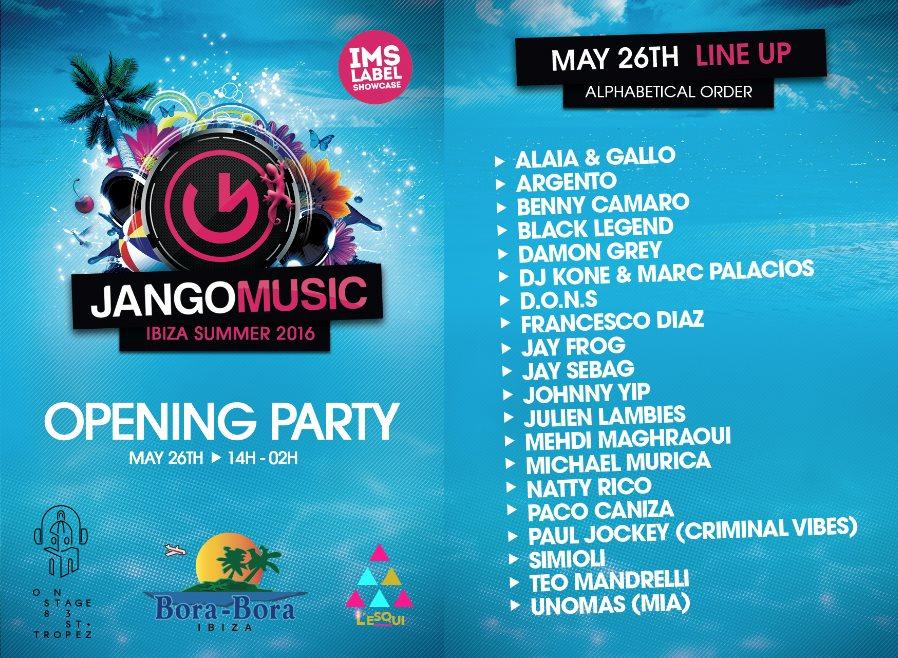 Jango Music Opening Ibiza 2016 - Flyer front